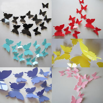 12 Pcs/Lot PVC 3D Butterfly Wall Stickers
