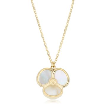 14K Yellow Gold Mother Of Pearl Flower Pendant Necklace, 18""