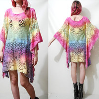 Lace Dress OMBRE Rainbow Festival Bell Angel sleeve Tie-dye VINTAGE Tunic 70s Bohemian Hippie vtg Cotton Pastel Sheer Mini xxs xs