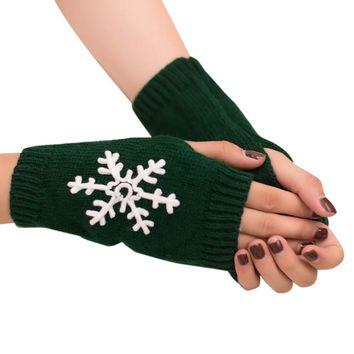 Women Girl Knitted Arm Fingerless Warm Winter Gloves Soft Warm Mitten