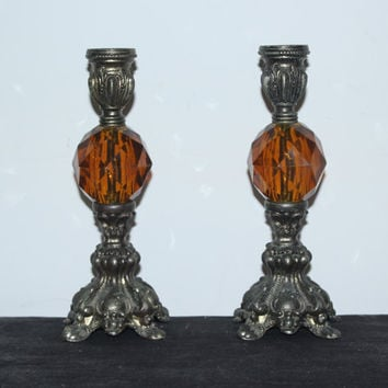 Regal French Provincial brass candlestick holders with amber Lucite ball, ornate candle handle, Mid-Century decor