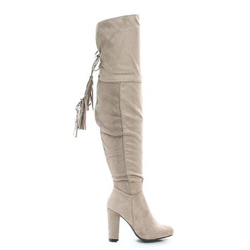 Hilltop28M By Wild Diva, Pull-On Block Heel Over Knee Boot Lace Tie Fastening Drawstring