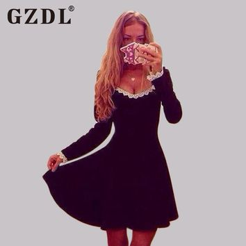 GZDL Fashion Autumn Winter Women's Dresses Lace Long Sleeve V Neck Casual Party Skater Pleated Plunge Mini Black Dress CL1834
