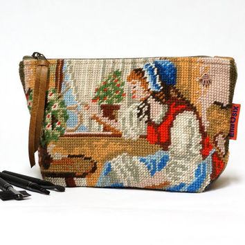 Cosmetic Bag, Needlepoint Makeup bag, zipper pouch, Handmade by EllaOsix