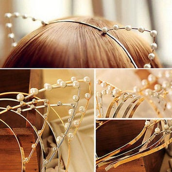 Lady Fashion Women Girl Cat Ears Pearl Rabbit Hairband Headband Cute Lovely