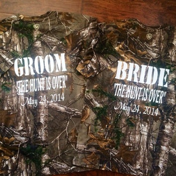 The Hunt is Over Camo Couples Bride and Groom Shirts