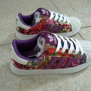 """""""Adidas"""" Fashion Casual Multicolor Print Unisex Sneakers Shell Head Plate Shoes Couple Running Shoes"""