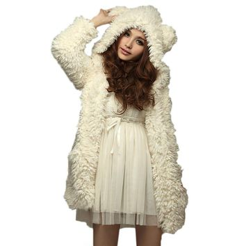 Hoodie Sweatshirt Fleece Fur Coat 2017 Women Autumn Winter Warm Soft Jacket Teddy Bear Ears Thick Overcoat Hooded Long Outerwear