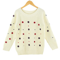 Beige Flower Embroidered Long Sleeves Knitted Pullover Sweater