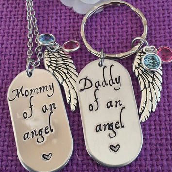 Miscarriage Jewelry - Memorial Jewelry Child loss - Miscarriage Necklace Keychain - Mommy of an angel - Daddy of an angel - Infant Loss