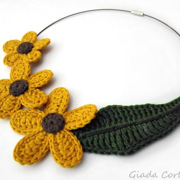 Crochet necklace,crochet flower necklace,yellow flower necklace,cotton yarn necklace,yellow crochet necklace,small world,fairy,fall gift