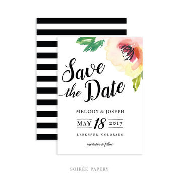 Watercolor Floral Wedding Save the Date | Spring Wedding, Water Color Garden | Melody