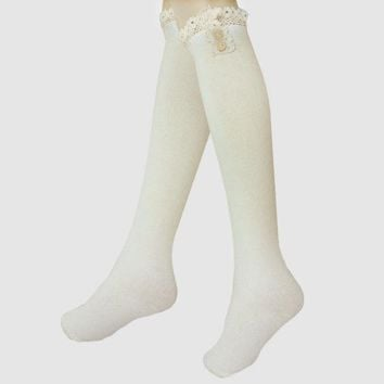 Delicate Buttons & Lace Ruffled Knee High Boot Socks - White Day-First™