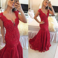 Red Mermaid Plundge Deep V Neck Cap Sleeve Lace Prom Dress With Beaded Lace Applique 2016 New