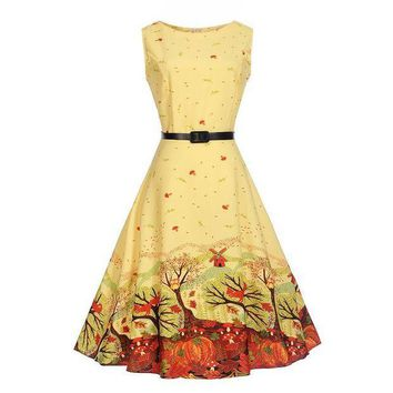PEAP78W Parent-child clothing Retro printing dress for Mommy and me family matching mother daughter dressesclothes 5-20 y Teen dress