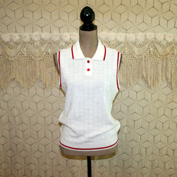 80s Vintage Sleeveless Sweater Womens Tops Medium White Red Retro Knit Summer Top Tennis Sportswear 1980s Vintage Clothing Womens Clothing