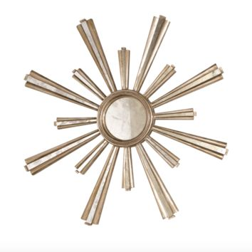 Worlds Away Jackie Silver Leafed Starburst Mirror