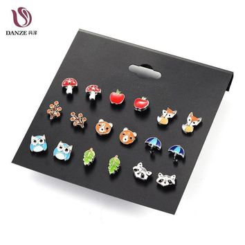 Women 9 Pairs Cute Fashion Small Animal Fox Butterfly Cherry Stud Earrings Set