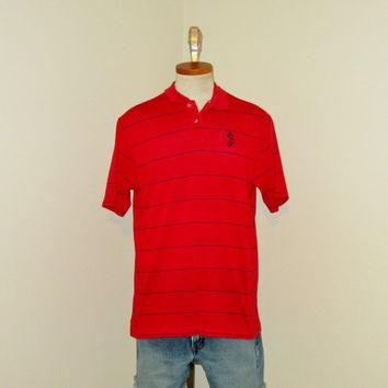 Vintage 80's MICKEY MOUSE Disney Red Striped POLO Shirt - Size Medium to Large