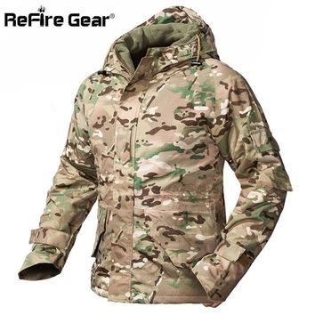 Trendy ReFire Gear Winter Camouflage Tactical Jacket Men Waterproof Warm Thick Fleece Liner Windbreaker Hooded Army Field Military Coat AT_94_13