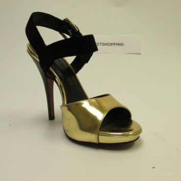"LUXURY REBEL ""Judith 2"" Gold & Black Suede High Heel Open Toe Sandals"