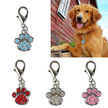 1Pc Rhinestone Paw Collar Charm Pet Jewelry Dog Puppy Collar Necklace Pendant