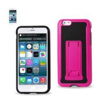 REIKO IPHONE 6 PLUS HYBRID HEAVY DUTY CASE WITH VERTICAL KICKSTAND IN BLACK HOT PINK