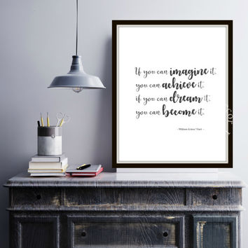 Imagine and achieve it | Black & White | Inspiration Poster | Home Decor Print | Printable Quote | Typography | Graduation gift idea