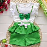 Summer New Arrival Girls Clothing Set Shirt+Shorts 2 PCS Set Girl Clothes Kids Suits