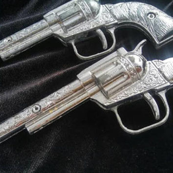 Now On Sale Set of 2 Vintage Toy Cap Guns, 1950's Toys, Esquire Amsterdam, N.Y. Die Cast Pistol, Toy Pistol Single Shot, Western, Cowboy Toy