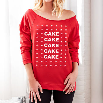 Cake Cake Cake Off the Shoulder Ugly Christmas Sweater for Women