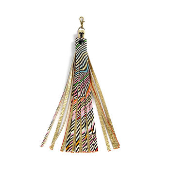 Leather Tassel Bag Charm / Key Ring - Wave
