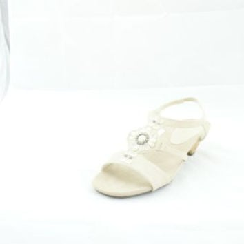 Anne Klein Tinny Ivory Beige Leather Open Toe Sandals Women's 8.5 M