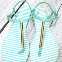 SIZE 11 Country Club Mint & Gold Sandals