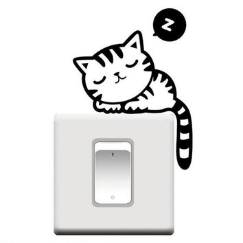 Cat DIY Switch Panel Stickers Hot Pretty Room Window Wall Decorating Switch Vinyl Decal Decor Cartoon Free Shipping Adesivo de