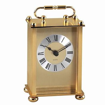 Personalized Free Engraving Goldtone Carriage Clock