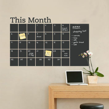 Monthly planner wall decal Chalkboard Wall Decal - Monthly Calendar Wall Calendar Decal This Month Calendar Planner Chalkboard