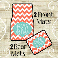 Custom Personalized Set of Car Floor Mats - Front and or Rear Back, Monogrammed Car Mats, Chevron Coral Tiffany Blue