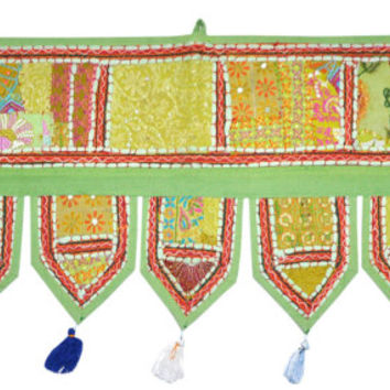 "38x14"" green Indian temple door frame valance tribal textile Decorative gypsy bohemian Door Valance topper tapestry window hanging toran"