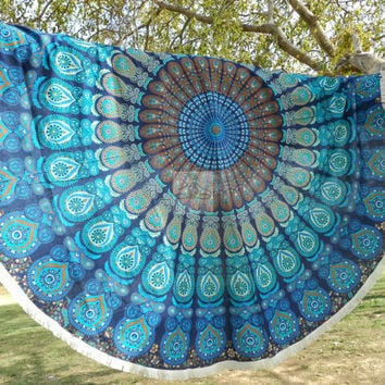 Yoga Mat, meditation, Round Beach Throw, roundie mandala, Beach Blanket, wall tapestry, round mandala, boho hippie ethnic style, rug 3059