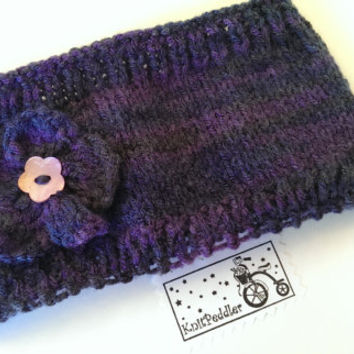 SALE - Knitted Earwarmer/Headband with Flower in Purple Grey Yarn