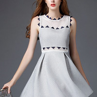 White Mesh And Geo Emboidered Sleeveless A-line Pleated Mini Dress