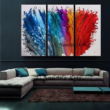 Abstract Art Original painting on canvas red blue modern painting, Modern art wall hanging artwork Painting for Office, Lobby decor, Nandita