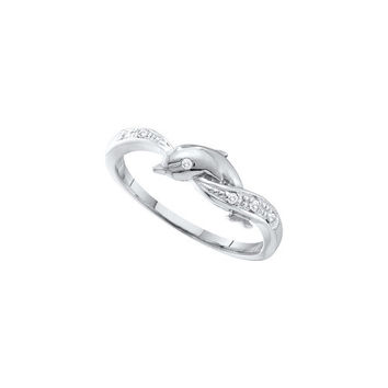 10kt White Gold Womens Round Diamond Dolphin Ring .03 Cttw