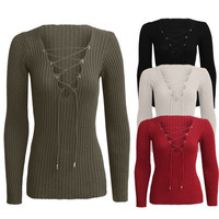V-Strap Knit Long Sleeve T-Shirt