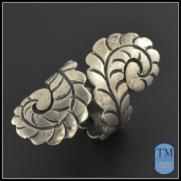 Vintage Mexican Sterling Silver Wrap Around Fern Leaf RIng - Size 4