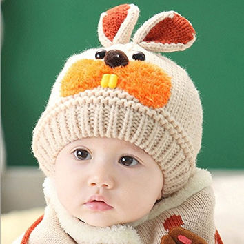 Enjoydeal Fashion Baby Kids Super Cute Rabbit Pattern Cap Winter Soft Woolen Knitted Hat (beige)