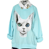 Cute Cat Ice-cream Color T-shirt For Women
