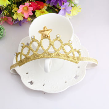 Children Accessories Toddler Newborn Baby Rhinestone Princess Tiara Headwear Hairband Cute Star Crown Headdress Headbands