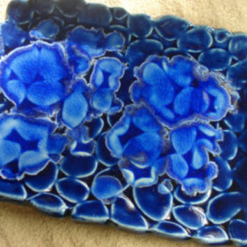 Monaco Blue Ceramic Dish with melted blue glass, Blue Beach Stones Pottery Dish, Trinket Dish, Jewelry Tray, Blue Ceramic Plate